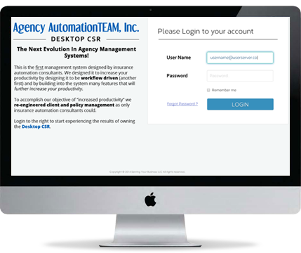 Desktop CSR Login window, Agency Management System